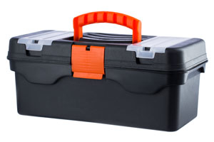 black toolbox with orange handle