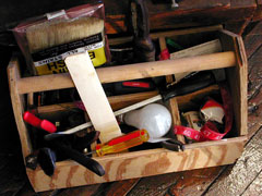 portable wood tool box